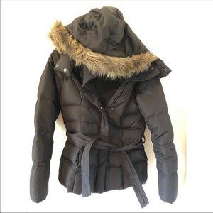 Forever 21 Black Puffer Fur Hood Coat